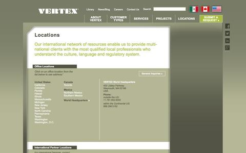 Screenshot of Contact Page Locations Page vertexeng.com - VERTEX engineering Waymouth MA headquarters and worldwide office locations - captured Oct. 22, 2014
