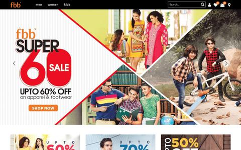 Screenshot of Home Page fbbonline.in - Latest Fashion Collection | Clothes For Men, Women & Kids by fbb - India's Fashion Hub - captured Jan. 2, 2018