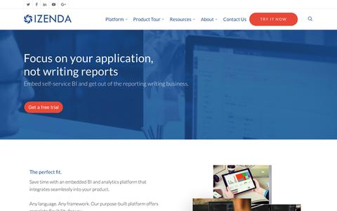 Screenshot of Developers Page izenda.com - For Developers | Embedded BI & Analytics | Izenda - captured June 8, 2017