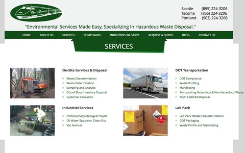 Screenshot of Services Page wastex.com - Environmental Services - Waste Disposal, Manifesting, Vac Services & more - captured Nov. 28, 2016