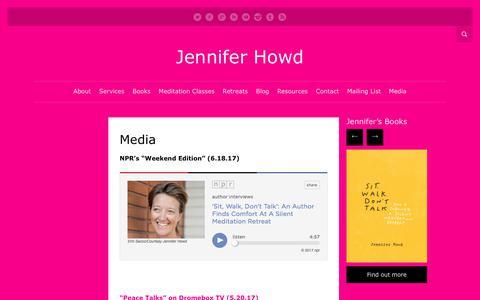 Screenshot of Press Page jenniferhowd.com - Media   Jennifer Howd - captured Sept. 15, 2017