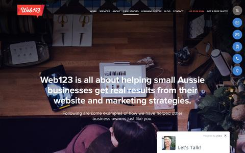 Screenshot of Case Studies Page web123.com.au - We are all about effective digital solutions, these case studies show our results - Web123 Australia - captured Feb. 17, 2018
