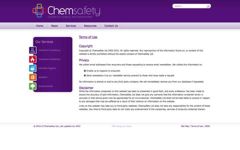 Screenshot of Terms Page chemsafety.co.nz - Terms of Use - captured Oct. 2, 2014