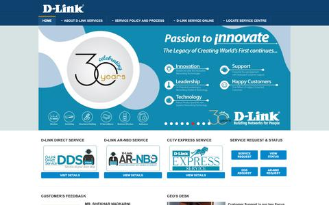 Screenshot of Support Page dlink.co.in - Welcome to D-Link Service Center - captured Oct. 1, 2018
