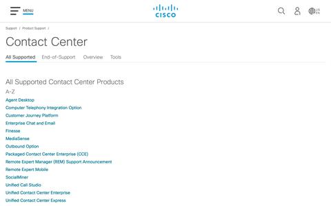 Screenshot of Support Page cisco.com - Contact Center (Customer Collaboration) - Support and Downloads - Cisco - captured May 10, 2019