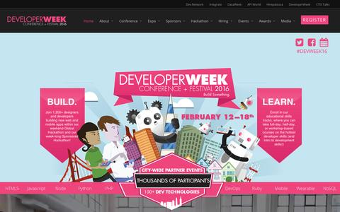 Screenshot of Home Page developerweek.com - DeveloperWeek 2016 | February 12-18 - captured March 4, 2016
