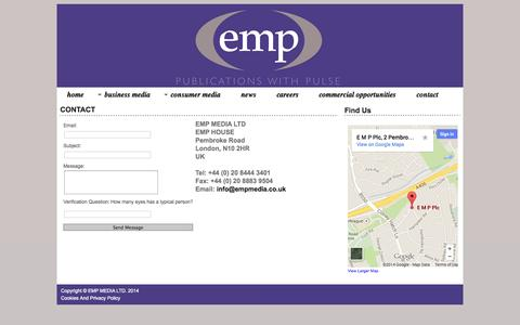 Screenshot of Contact Page empgroup.co.uk - contact - captured Oct. 1, 2014