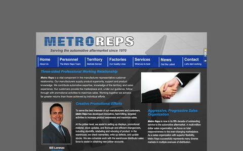 Screenshot of Home Page metroreps.com - Metro Reps - Representative Agency serving the Automotive Aftermarket since 1970 - captured Feb. 5, 2015