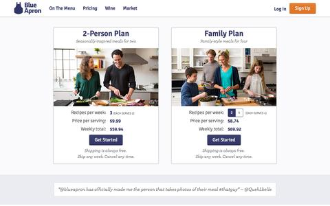 Screenshot of Pricing Page blueapron.com - Blue Apron: Fresh Ingredients, Original Recipes, Delivered to You - captured Nov. 26, 2015