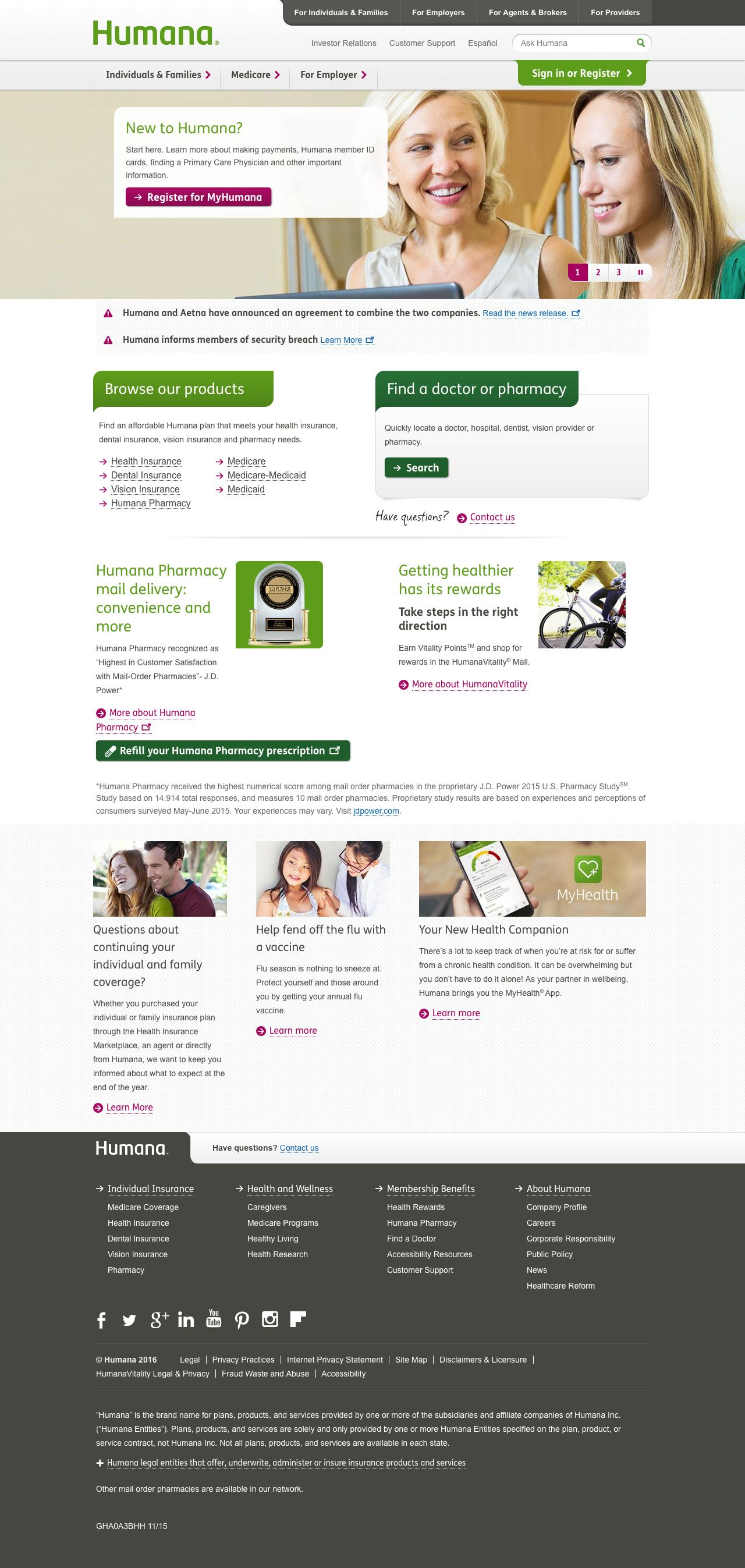 Web Design Example A Page On Humana Com Crayon