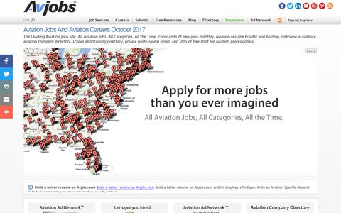 Screenshot of Home Page avjobs.com - Aviation Jobs and Aviation Careers October 2017 - captured Oct. 9, 2017