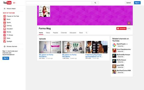 Screenshot of YouTube Page youtube.com - Forma Mag  - YouTube - captured Oct. 30, 2014