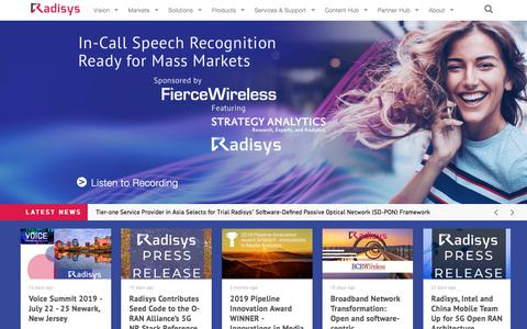 Screenshot of Home Page radisys.com - Radisys | Enabling Open Telecom - captured July 17, 2019