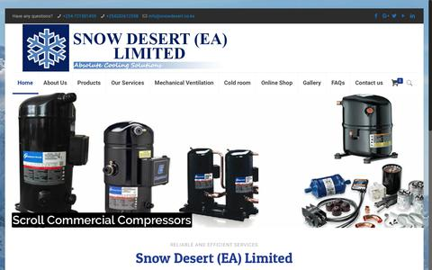 Screenshot of Home Page snowdesert.co.ke - Snow Desert (EA) Ltd Air conditioning and Refrigeration Installation and Services in Kenya - captured Oct. 20, 2018