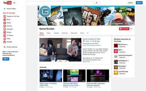 Screenshot of YouTube Page youtube.com - GamerGuides  - YouTube - captured Oct. 28, 2014
