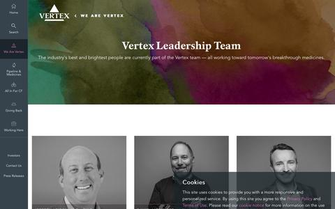 Screenshot of Team Page vrtx.com - Leadership | Vertex Pharmaceuticals - captured April 11, 2017