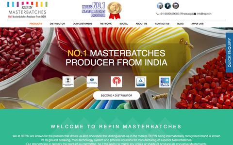 Screenshot of Home Page Products Page repin.in - Masterbatch Manufacturers India, UV Masterbatches Suppliers Company - captured Oct. 21, 2017