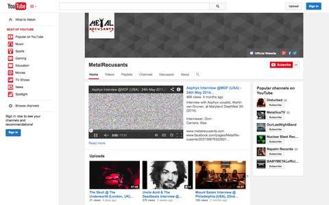 Screenshot of YouTube Page youtube.com - MetalRecusants  - YouTube - captured Oct. 27, 2014