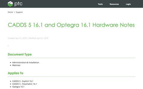 Screenshot of Support Page ptc.com - CADDS 5 16.1 and Optegra 16.1 Hardware Notes | PTC - captured Nov. 13, 2018