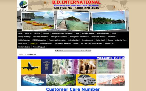 Screenshot of Contact Page Support Page bdinternationalonline.in - B.D.INTERNATIONAL - India's BEST Travel Site  Guaranteed | Low Cost Air Tickets | Hotel | Holiday |Packages| Passport | Visa - captured Oct. 22, 2014