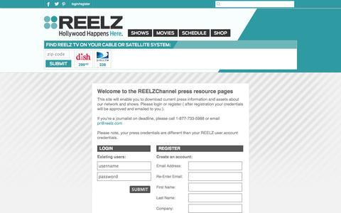 Screenshot of Press Page reelz.com - ReelzChannel - Press Relations - captured Sept. 25, 2014