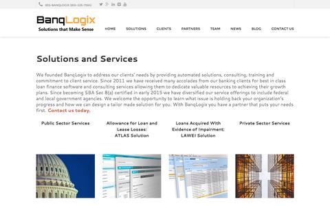 Screenshot of Services Page banqlogix.com - Solutions and Services | BanqLogix - captured Dec. 29, 2015