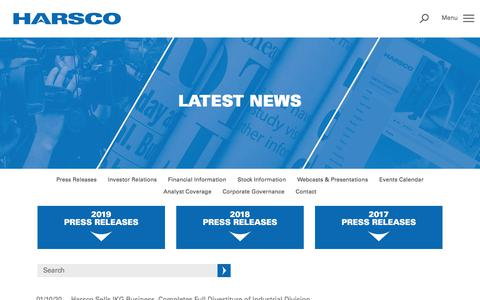 Screenshot of Press Page harsco.com - Latest News | Harsco - captured Jan. 10, 2020