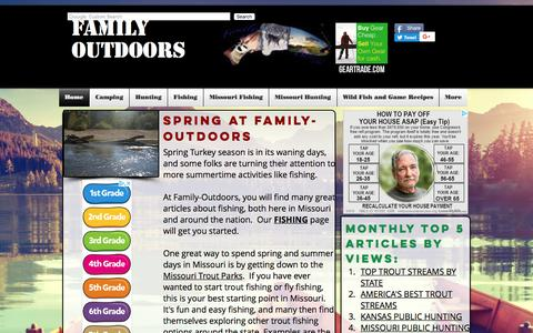 Screenshot of Home Page family-outdoors.com - Fishing, Hunting, Camping |Missouri and nationwide| Family-Outdoors - captured Aug. 10, 2018