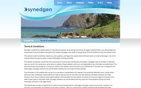 Screenshot of Terms Page synedgen.com - Terms & Conditions - captured Sept. 17, 2014