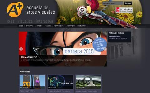 Screenshot of Home Page a.edu.uy - A+ escuela de artes visuales - captured Oct. 3, 2014