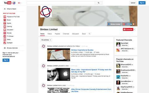 Screenshot of YouTube Page youtube.com - Simboc Limited  - YouTube - captured Nov. 5, 2014