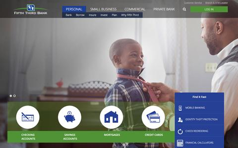 Screenshot of Home Page 53.com - Personal Banking Services | Fifth Third Bank - captured Jan. 16, 2016