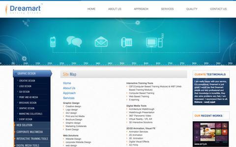 Screenshot of Site Map Page dreamartinteractive.com - Visualization and Storyboarding Bangalore, Bengaluru, India - DreaMarT Interactive - captured Nov. 24, 2016