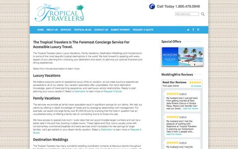 Screenshot of Services Page thetropicaltravelers.com - All Inclusive Vacations - The Tropical Travelers - captured Sept. 30, 2014