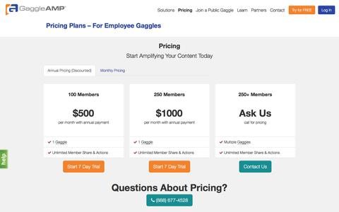 Screenshot of Pricing Page gaggleamp.com - Pricing Plans | GaggleAMP - captured April 14, 2016