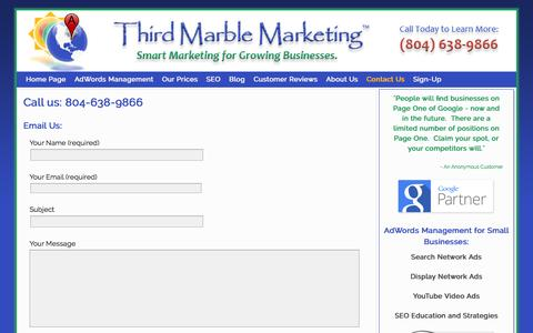 Screenshot of Contact Page thirdmarblemarketing.com - Third Marble Marketing | 804-638-9866 | Richmond VA - captured Sept. 30, 2014