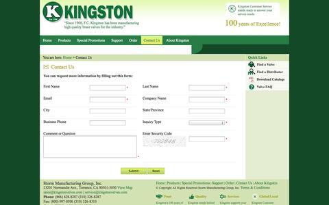 Screenshot of Contact Page kingstonvalves.com - Contact Us - captured Sept. 30, 2014