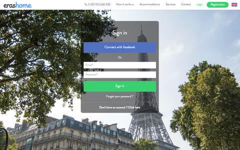 Screenshot of Login Page erashome.com - ERASHOME: Foreign students welcome in France and Paris. - captured Oct. 28, 2014