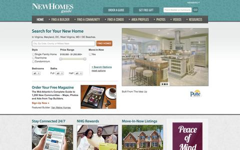 Screenshot of Home Page newhomesguide.com - New Homes VA, MD, WV, DC, PA, Virginia Homes for Sale – New Homes Guide - captured Sept. 30, 2014