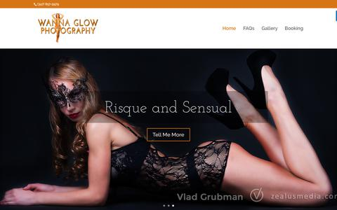 Screenshot of Home Page wannaglow.com - Intimate Boudoir Photography - WannaGlow Boudoir Photography and Intimate Portraits - captured June 11, 2017