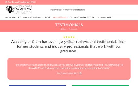 Screenshot of Testimonials Page academyofglam.com - Testimonials | Academy of Glam - captured Oct. 7, 2017