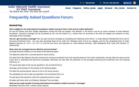Screenshot of FAQ Page kvrao.org - Visitor Health Insurance - captured Oct. 11, 2018