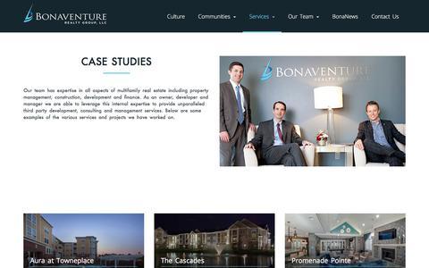 Screenshot of Case Studies Page bonaventure.com - Case Studies - Bonaventure Realty Group - captured Oct. 10, 2017