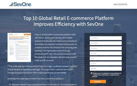 Screenshot of Landing Page sevone.com - Top 10 Global Retail E-commerce Platform Improves Efficiency with SevOne - captured Oct. 29, 2016