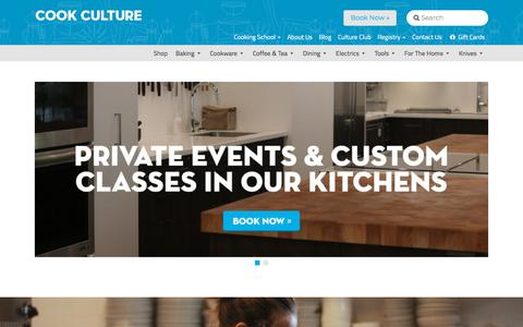 Screenshot of Home Page cookculture.com - Cook Culture - Cooking Gear and Classes in Downtown Vancouver, North Vancouver, and Victoria - captured July 21, 2018