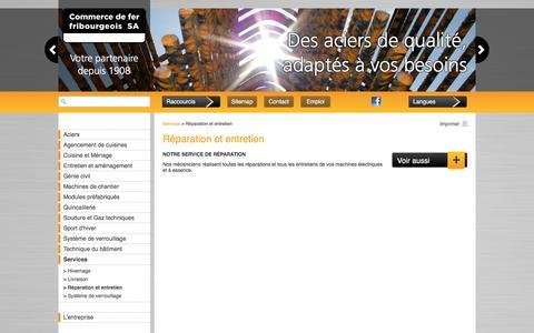 Screenshot of Services Page cdff.ch - Commerce de fer, Fribourg : Réparation et entretien - captured Nov. 10, 2016