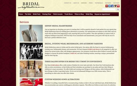 Screenshot of Services Page bridalreflections.com - Wedding Dress Design, Alterations, Preservation at Bridal Reflections - captured Sept. 22, 2014