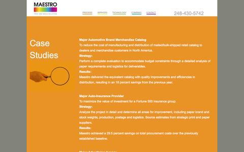 Screenshot of Case Studies Page maestromps.com - Case Studies - Maestro Print and Media Solutions - captured Oct. 1, 2014