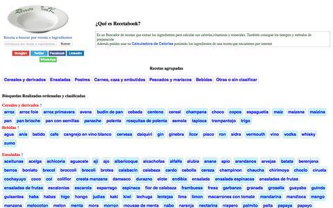 Screenshot of Home Page recetabook.com - Buscador de recetas y menus - captured June 22, 2015