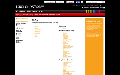 Screenshot of Site Map Page ukkolours.com - UK Kolours - Site Map - captured Sept. 30, 2014